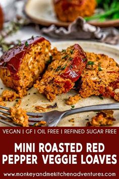 These comforting Mini Roasted Red Pepper Veggie Loaves are incredibly flavorful and filled with wholesome ingredients that are sure to knock your socks off. Plant Based Diet, Plant Based Recipes, Veggie Loaf, Vegetarian Recipes, Healthy Recipes, Vegetarian Roast Dinner, Vegetarian Cooking, Healthy Desserts, Easy Recipes