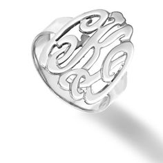 Designer Personalized Initials Ring (Order Any Name) Sterling Silver $65