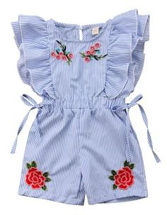 Baby girl Floral Ruffled Romper - Baby girl Floral Ruffled Romper Your todler girl will surely love the ruffles and embroidered floral details of this romper! Check it out today Dresses Kids Girl, Little Girl Outfits, Toddler Boy Outfits, Little Girl Fashion, Toddler Fashion, Fashion Kids, Kids Outfits, Cute Outfits, Fashion Clothes