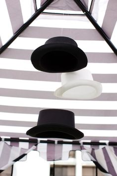 Hat decor for Monopoly themed birthday party