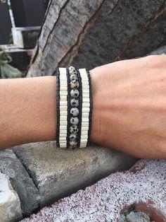 Women black leather Cuff Bracelet, beads and Dalmatian Jasper semi-precious stones. Bracelets, Men, Etsy, Jewelry, Fashion, Black Leather, Stones, Unique Jewelry, Moda