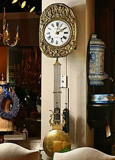French Antique Hanging Wall Clock
