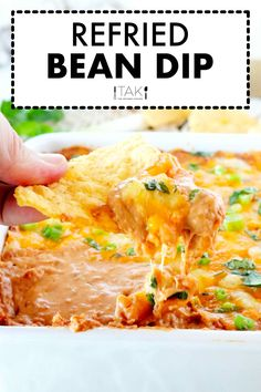 Top this easy bean dip with cheese and bake it until hot and bubbly and you've officially got the ultimate party appetizer on hand!ThisRefried Bean Diprequires only a few simple ingredients, comes together quickly in just 10 minutes or less, and feeds a crowd. This easy appetizer dip recipe can be made ahead of time and served with Fritos, tortilla chips, or veggies!