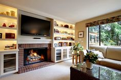 lights in the shelves Living Room Design Ideas, Pictures, Remodels and Decor