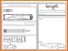 math worksheet : measurement  kindergarten math kindergarten and common cores : Kindergarten Length Worksheets