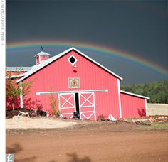 rainbow over pink barn! shed be in heaven. one day taylor mae one day!! i promise
