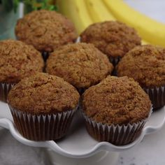 These Banana Muffins are loaded with crunchy walnuts and sweet cinnamon, then to. These Banana Muffins are loaded with crunchy walnuts and sweet cinnamon, then topped with a sugary Banana Muffin Recipe Easy, Vegan Banana Muffins, Banana Recipes, Fall Dessert Recipes, Easy Cookie Recipes, Cake Recipes, Desserts, Cinnamon Muffins, Banana Cinnamon