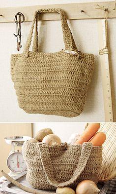 Free Crochet Pattern: Kenaf Market Bag by Pierrot (Gosyo Co., Ltd)