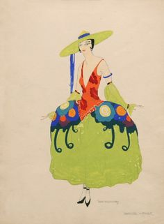 "1923 Costume Design by Hugh Willoughby, Paris Music Hall ""Showgirl Finale""."