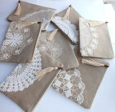 Set of 7 bridesmaid bags sand beige linen by KajarCollection