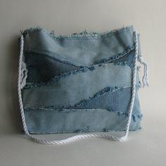 Bolsa de mezclilla reciclada  reclamado jean azul hombro por Sisoi, $43.00