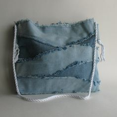 Recycled denim bag reclaimed blue jean shoulder tote bag by Sisoi