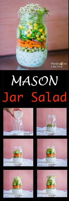 Herbivore Cucina: Mason Jar Salads + A quick yummy salad...Everything you wanted to know about salads in Mason Jars. This one has some easy to follow tricks to get it right each time. Plus a recipe!  #EasyMasonJarSalad #SaladRecipes #MintMayonnaise #BeanSproutsSalad #Alfalfa #VegetarianJarSalads #PackedLunches #BottledSalads #CornAndPeasSalad #LayeredSalads