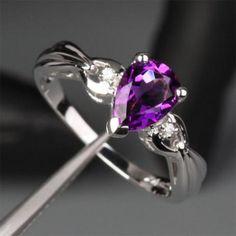Pear Amethyst Engagement Ring Diamond Wedding 14k White Gold 6x8mm - Lord of Gem Rings - 1