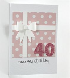 40th Birthday Card - Present with Bow and Polka Dots / Glitter 40