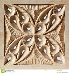 An intricately carved wood panel, characterized by large and small sweeping curves, carved on both sides and pierced, and inspired by European medieval geometric patterns. Description from dreamstime.com. I searched for this on bing.com/images