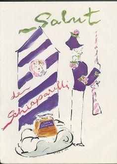 1947 Salut de Schiaparelli #vintage #perfume #ad art by Marcel Vertes