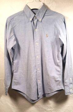 b2593d3d541 Polo Ralph Lauren Blue Oxford Long Sleeve Boys Cotton Dress Shirt Size 12   PoloRalphLauren  DressyEverydayHoliday