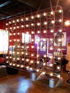 Bed springs and clear globe string lights