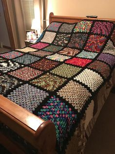 Crochet Squares This is hand crocheted. Each square is a different variegated yarn. It measures approx 80 x It is pictured on a queen size bed. It will also fit a king size bed. Made in a smoke free, pet free home. Machine washable and dryable. Crochet Afghans, Crochet Bedspread, Crochet Quilt, Crochet Blanket Patterns, Hand Crochet, Knitting Patterns, Free Crochet, Scarf Patterns, Crochet Stitch