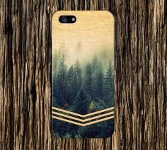 Golden Forest Chevrons x Faded Wood Design Case for iPhone and Samsung