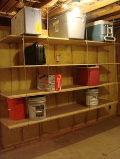 Ceiling Hanger-Shelves hang from joists in garage, basement or storage shed.