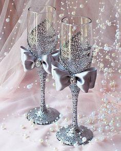 Bodas de plata vidrios flautas de champán de boda por WeddingbyAnn