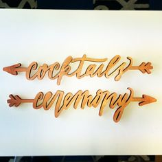More fun details from last weekends wedding with @lovelydetails - how cute are these directional signs? #rosegold #lasercut #calligraphy by @chelseapetaja by southernfriedpaper
