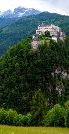 Beautiful View of Mighty Castle of Hohenwerfen that was built between 1075 and 1078, Austria