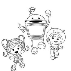 Team Umizoomi Geo And Milli Hug Bot In Team Umizoomi Coloring
