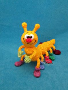 Crochet pattern - Caterpillar amigurumi insect animal (English)Please note: this is a pattern only and does not end the game! Crochet pattern by Larisa Kostyleva Materials and tools you need: main yarn in yellow for the main parts and 6 other colors Crochet Amigurumi, Amigurumi Patterns, Crochet Dolls, Crochet Game, Baby Knitting Patterns, Baby Patterns, Easy Knitting Projects, Crochet Projects