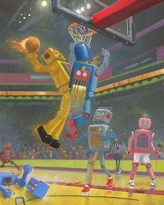 Basketbots.   Print giclée, firmado y numerado  Medidas: 25.5 X 20.3 cm