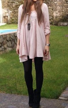 Blush dress with black tights/heels. Looove. Add a leather moto jacket for night & it's perfect! by karin