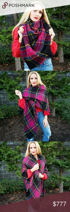 GOREGOUS OVERSIZED PLAID BLANKET SCARF Brand new Boutique item  Check out the colors on this amazing oversized blanket scarf!! A stunning mix of magenta,purple,yellow and emerald green on a black background! The styling options are limitless!   This scarf is a must have for many seasons to come!  Fabulous gift idea for you or someone you love!  100% acrylic MODA ME COUTURE Accessories Scarves & Wraps