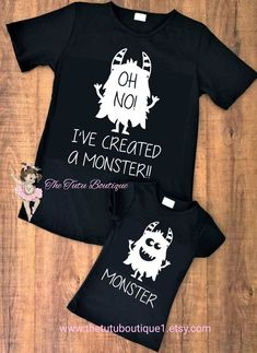 Mothers Day Shirts Discover Ive Created a Monster shirt Mommy Son shirts Mommy Daughter shirts Mothers Day Daddy Son Shirts Daddy Daughter Shirts Fathers Day Mommy And Me Shirt, Daddy And Son, Mommy And Me Outfits, Daddy Daughter, Family Outfits, Father Daughter Shirts, Mother Son, Mother Daughters, Family Shirts