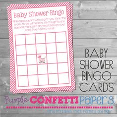 Onsie Dark Pink & White Baby Shower Bingo by PurpleConfettiPapers, $5.00