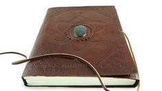Leather Journal Hand Tool Large with Labradorite Stone