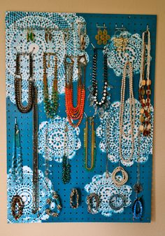 Jewelry Organizer Wall Display Jewelry Holder by KaterTotsShoppe, $88.00