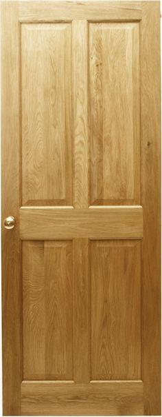 4 panel solid oak door. Victorian style. #Doors