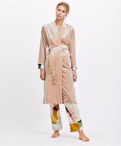 Velvet fringe dressing gown - Robe - Pyjamas and homewear Beachwear, Swimwear, Nightwear, Duster Coat, Dressing, Spring Summer, Velvet, Bikini, Lingerie