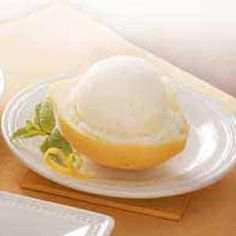 "Lemon Sherbet Recipe -Lemon juice provides the snappy flavor in this wonderful ice cream recipe from our Test Kitchen. The light, make-ahead treat looks splendid served in individual ""boats"" made from lemon halves."