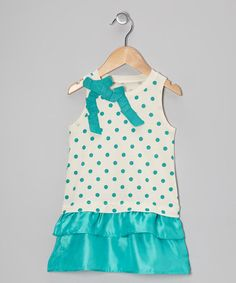 Take a look at this Teal Green Polka Dot Dress - Toddler & Girls by C2 Studio on #zulily today!