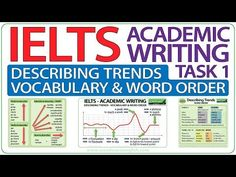 IELTS vocabulary for Describing Trends in Academic Writing Task 1 including common verbs, adverbs, nouns and adjectives English Grammar Quiz, English Phonics, English Writing, English Class, English Language, Ielts Writing Academic, Ielts Reading, Adjective Words, Nouns And Adjectives