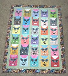 """""""I LOVE MY CAT"""" Quilt.  This quilt is so bright even the cats wear shades.  Peace, Robert from nancysfabrics.com"""