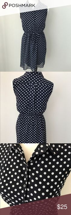 Vintage Navy Polka Dot Dress Vintage inspired style, collar, button down to the waist, elastic waist band and tie. Sweet Storm Dresses