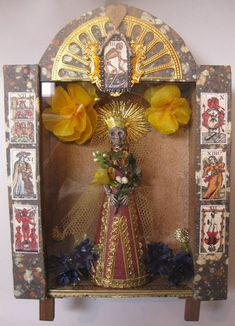 """""""Haunted Skeleton Nicho"""" class inspired by antique Mexican Nicho These are constructed from old cigar boxes, layered with wonderful papers that the Castle is known for.  Ulla Norup Milbrath"""