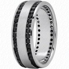 Men's Wedding Band White Gold with Black Diamonds by JPoliseno, $4500.00