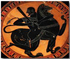 Ancient Greek pottery decoration (herakle ubija nemejskog lava? )
