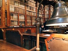 The readers' seats at the Biblioteca Angelica, Rome.