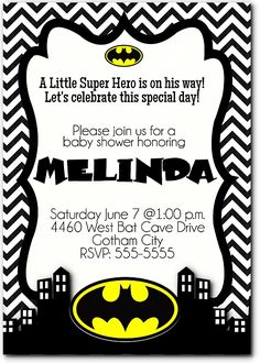 Black Chevron Little Super Hero Baby Shower Printable Invitation